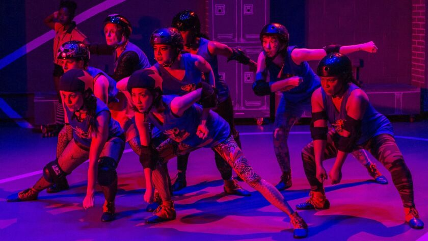 """The company of """"For the Love Of (Or, the Roller Derby Play)"""" prepares to get rough in Center Theatre Group's remount of the Theatre of Note production at the Kirk Douglas in Culver City. The play is the first of three productions in CTG's annual Block Party."""