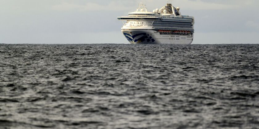 The Grand Princess maintains a holding pattern about 30 miles off the coast of San Francisco on Sunday.
