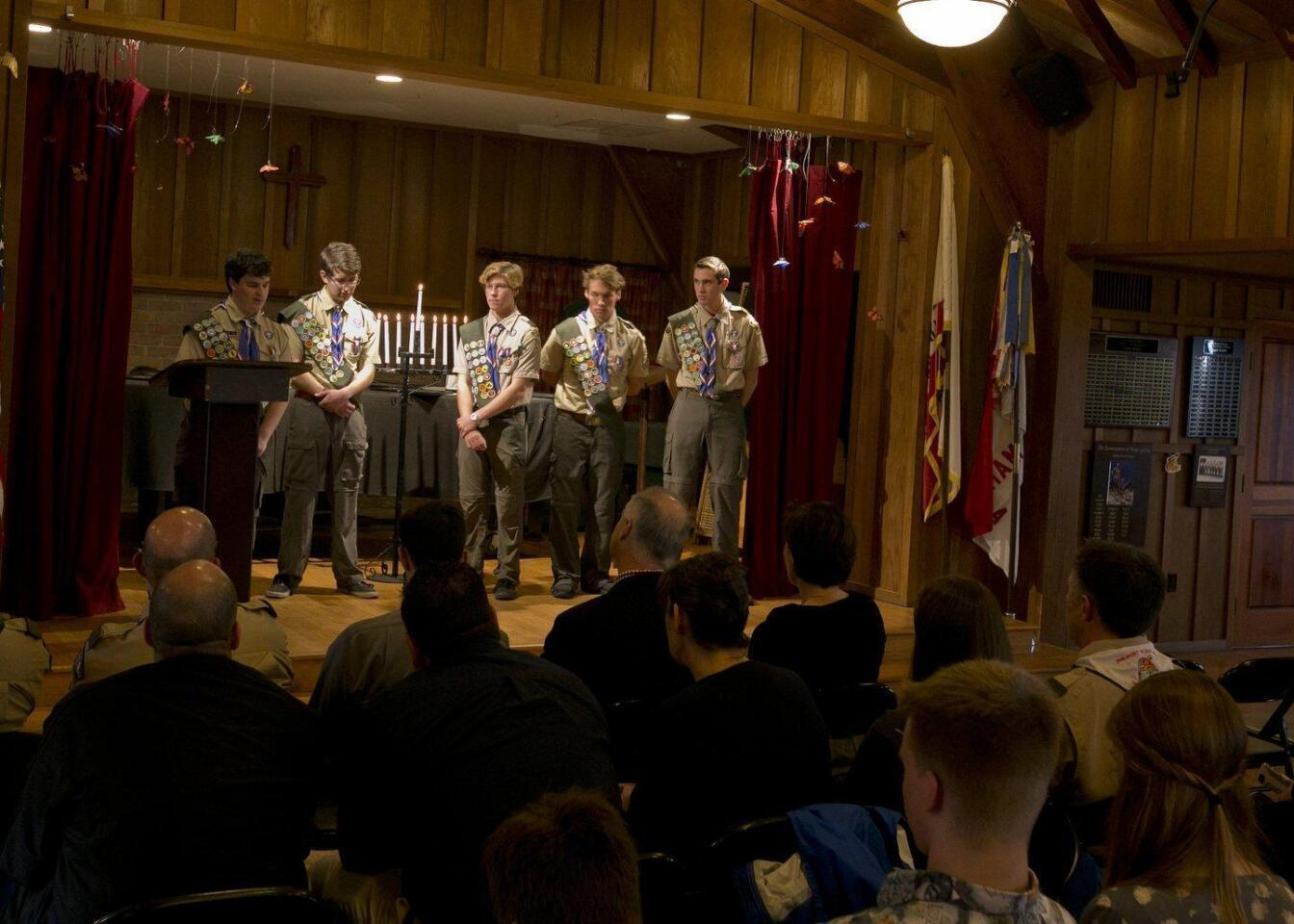 Eagle Scouts: Jimmy Neil, Matthew Elwell, Christopher Shopes, Jon Shopes, and Nicholas Moglia remember their mentor Peter Gillcrist