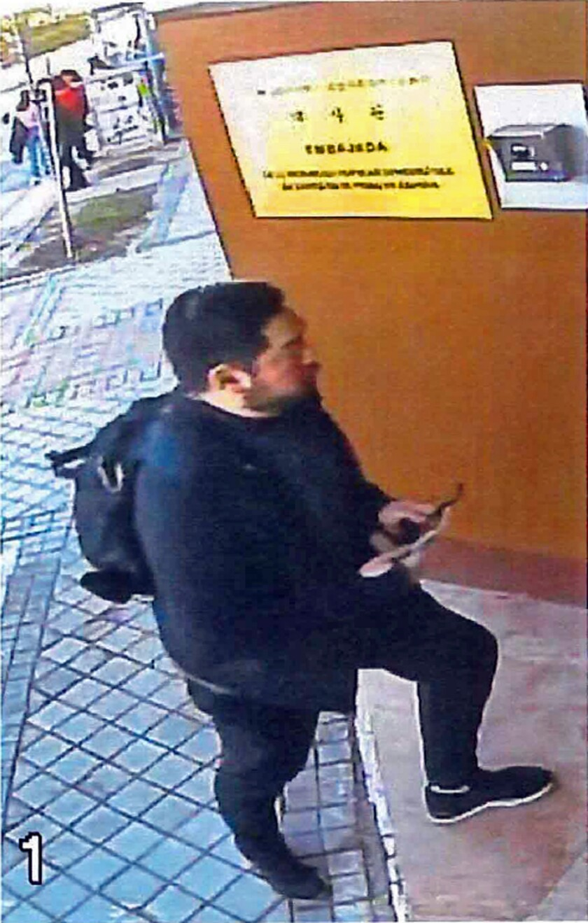 This Feb. 22, 2019 image from surveillance video at the North Korean Embassy to Spain in Madrid, con