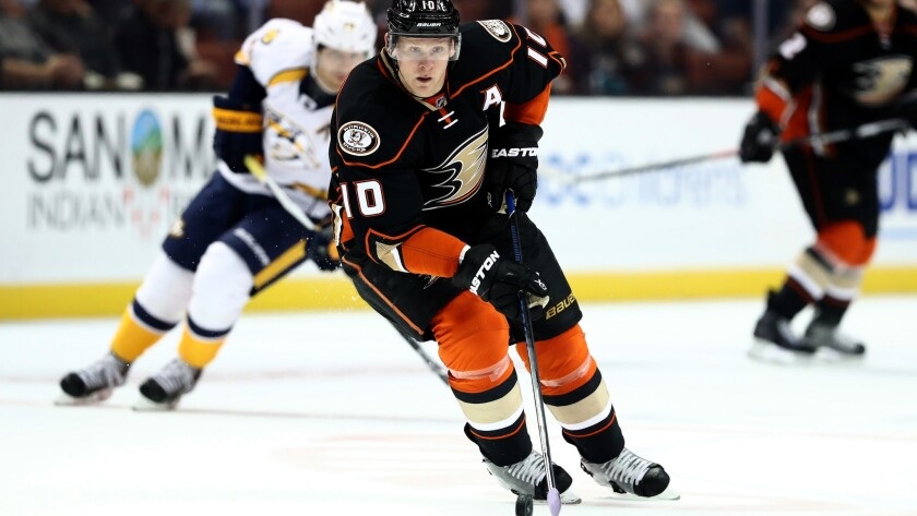 Ducks winger Corey Perry, shown in action against the Predators on Oct. 26, is going through a 15-game goal-scoring drought.