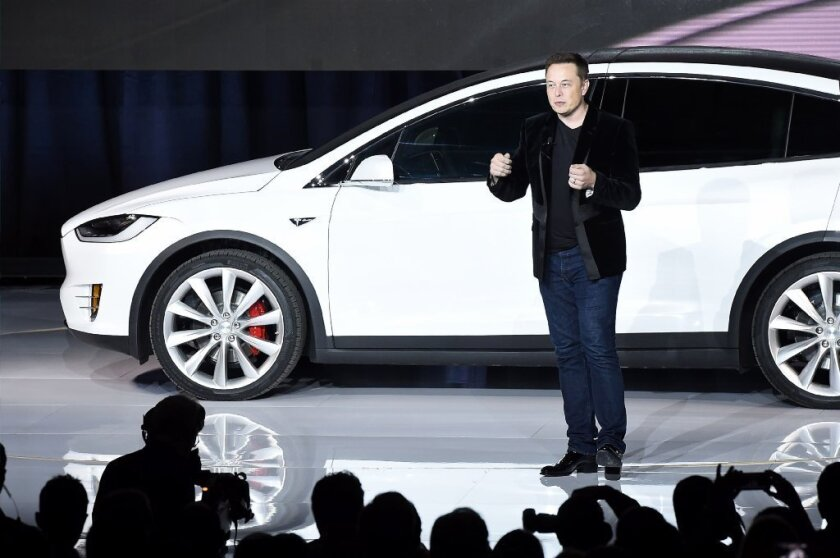 Tesla Motors Inc. Chief Executive Elon Musk introduces the Model X sport utility vehicle in Fremont, Calif., in 2015.