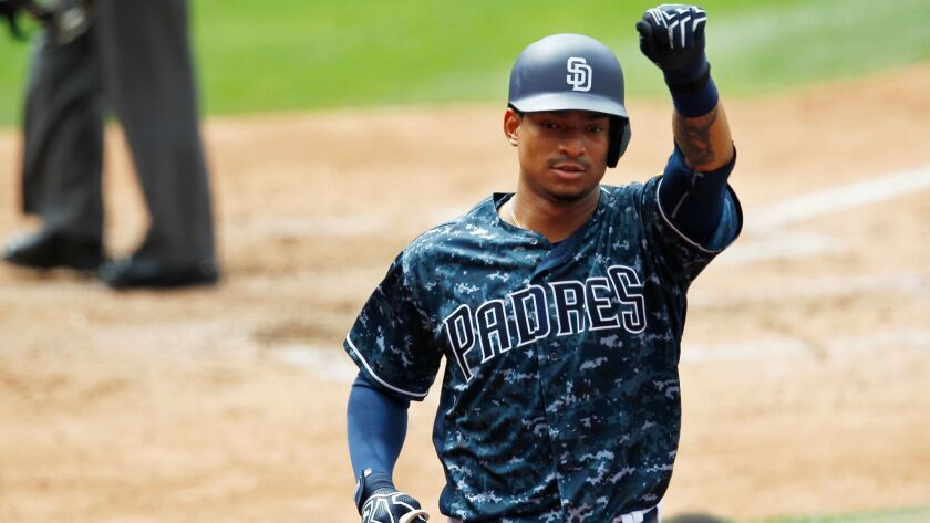 The Padres' Christian Bethancourt celebrates his fourth-inning home run  against the St. Louis Cardinals.