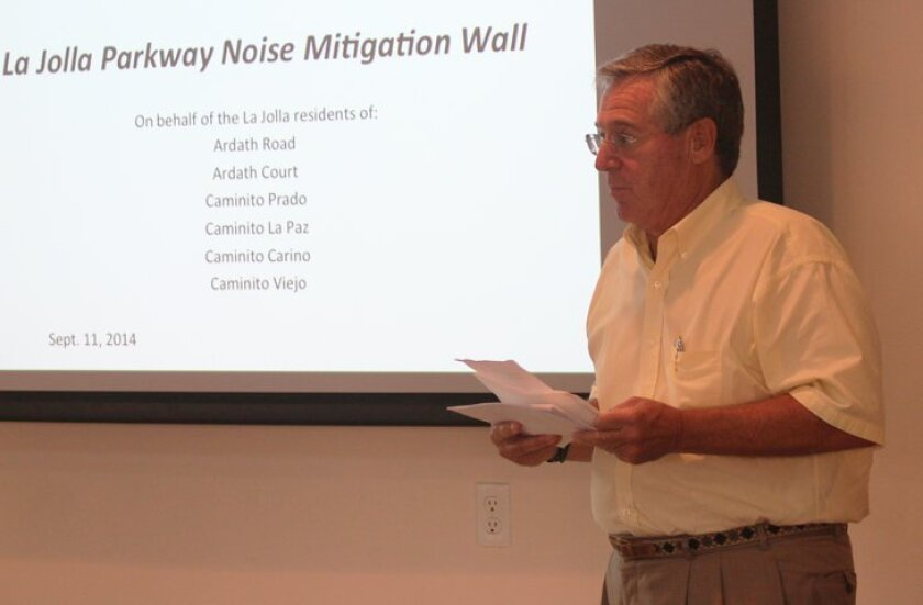 At a meeting of the La Jolla Town Council in September 2014, Hidden Valley resident Richard Haskel presented a proposal to extend a 200-foot sound wall barrier along La Jolla Parkway to reduce the impact of traffic noise.