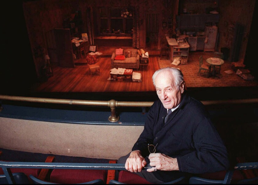 """Eli Wallach is shown at New York's Union Square Theater in 1997, where he was set to appear in the play """"Visiting Mr. Green."""" The actor died on Tuesday."""