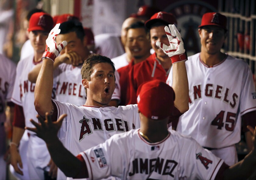 Angels' David Freese celebrates his home run against the Kansas City Royals during Game 1 of an American League division series on Oct. 2.