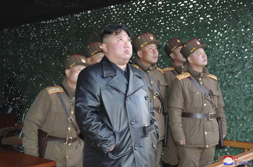 North Korean leader Kim Jong Un inspects a military exercise at an undisclosed location March 21.