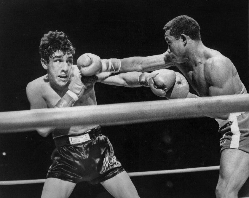 Sep. 27, 1968: Mando Ramos, left, and Carlos Teo Cruz during lightweight boxing championship at the