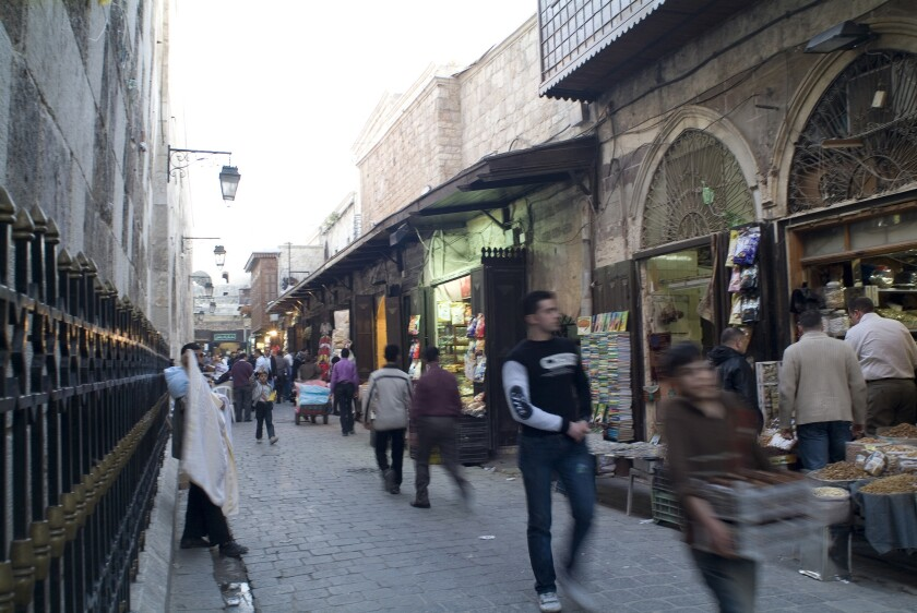 A street scene in the old town of Aleppo, Syria, in 2010, before the civil war.