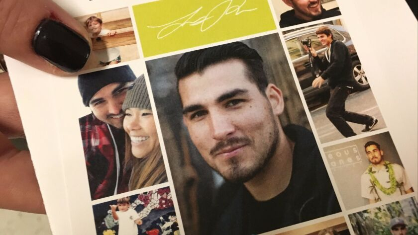 A collage of photos shows Lucas Makana Riley, 24, who was killed by a drunken driver in Poway.