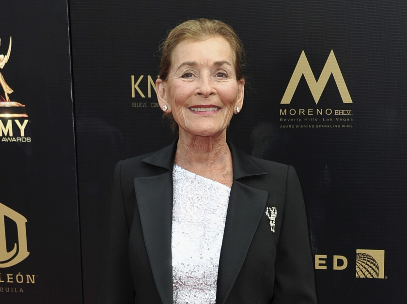 """FILE - Judge Judy Sheindlin arrives at the 46th annual Daytime Emmy Awards in Pasadena, Calif., on May 5, 2019. Sheindlin is returning to television on Nov. 1 with her new show, """"Judy Justice,"""" which will be available weekdays on the little-known IMDb TV, a free streaming service offered by Amazon. (Photo by Richard Shotwell/Invision/AP, File)"""