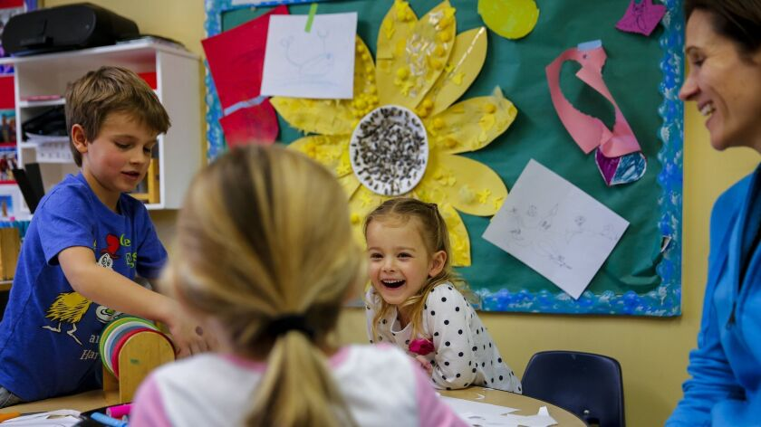 REDONDO BEACH, CA --MARCH 3, 2015--Ben Haldeman,5, left, and Paige Russell, 5, right in polka dots,