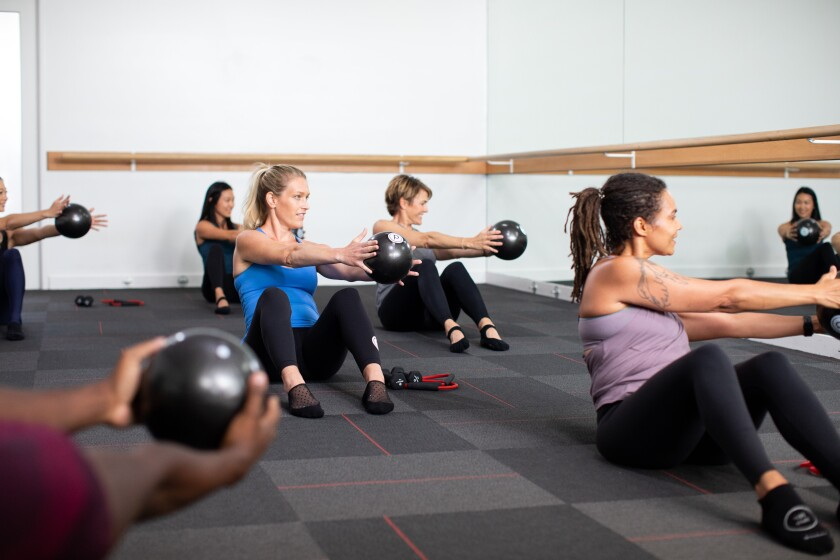 A Pure Barre class like the ones offered at the new La Jolla studio.