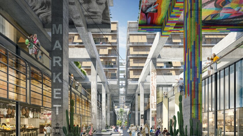 Renderings for the proposed 6AM complex in the Arts District.