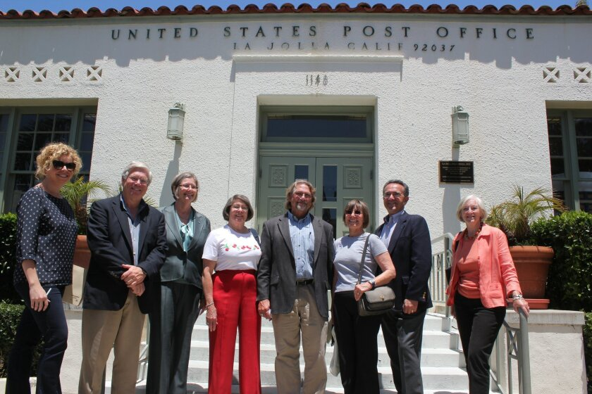 Members of the Save La Jolla Post Office Task Force and City Councilwoman Sherri Lightner posed in front of the historic post office prior to the June 6 press conference. Pat Sherman photos