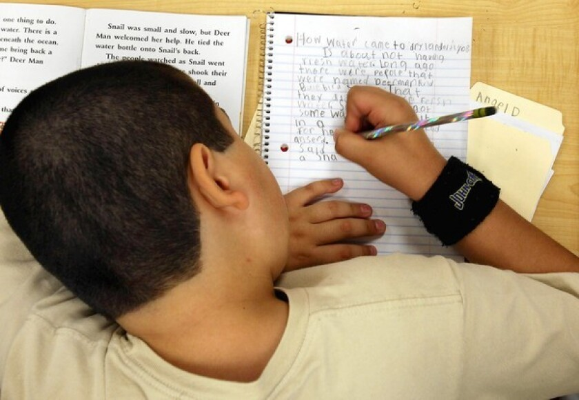 Angel Diaz, 9, works on his paper in an English class at Thomas Jefferson Elementary School in Joliet.