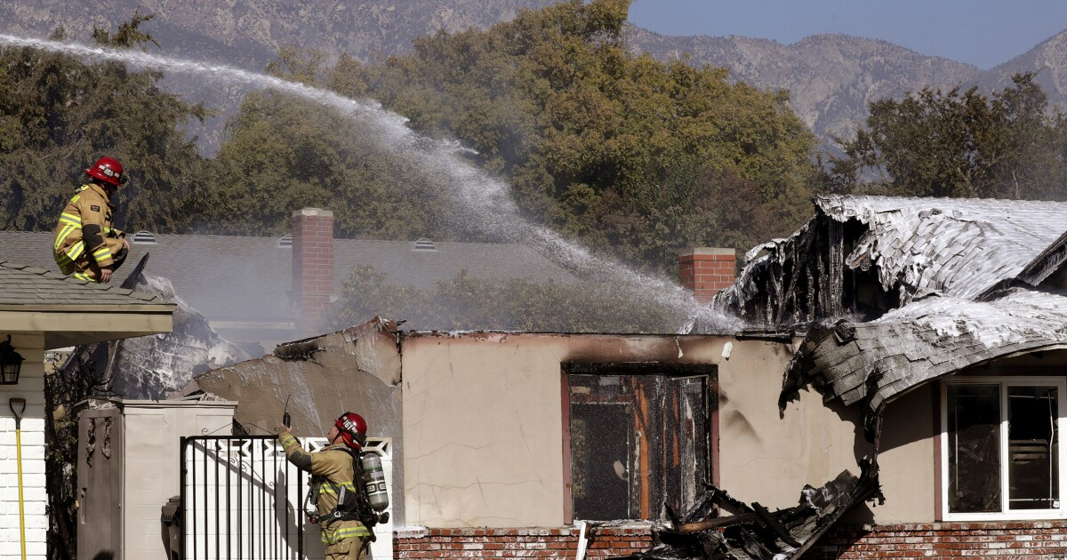 Pilot killed in plane crash that set an Upland home on fire