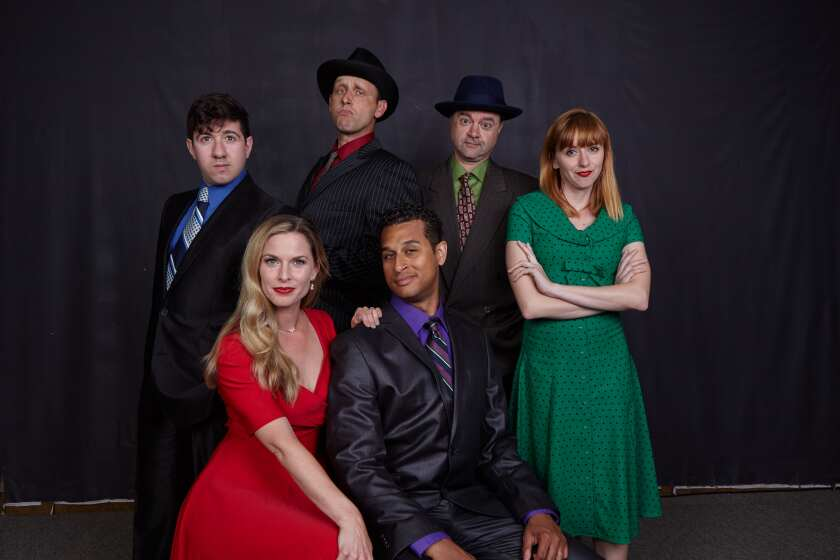 Another Roll of the Dice cast members (front row, seated): Allison Spratt Pearce and Darrick Penny; Back row, l-r: Elliot Lazar, Jason Maddy, Lance Carter and Sarah Errington