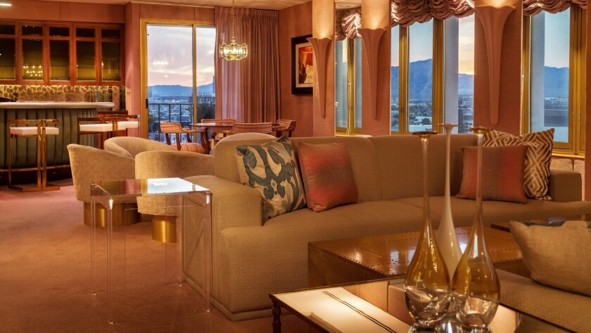 A cozy living room with commanding views of the southern Nevada mountains is just one of the features of the plush penthouse atop the El Cortez in downtown Las Vegas. For the first time, the spacious suite is available for overnight stays.