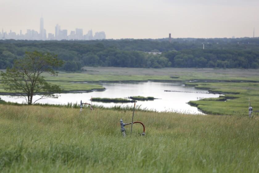 Fotografía del 18 de agosto de 2016 de equipos para la recolección de gases producidos por la descomposición de basura enterrada que todavía se soman en algunas áreas del Parque Fresh Kills, en el condado de Staten Island, Nueva York. Este paisaje vibrante, que fue una vez el vertedero más grande del mundo, fue transformado en el mayor parque de la ciudad de Nueva York en más de 100 años. (AP Foto/Seth Wenig)
