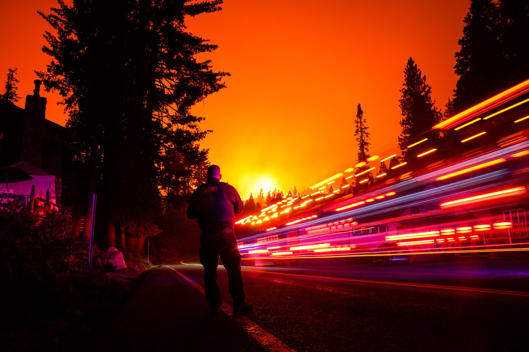 The Creek fire creeps closer to town in Shaver Lake, Calif.