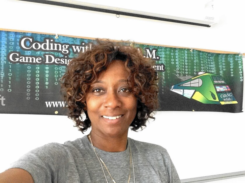 Daphne Bradford teaches computer science through her nonprofit at Dorsey High School in South L.A.