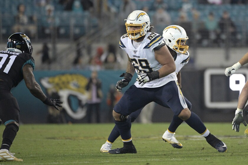 Chargers offensive tackle Sam Tevi blocks against the Jaguars.