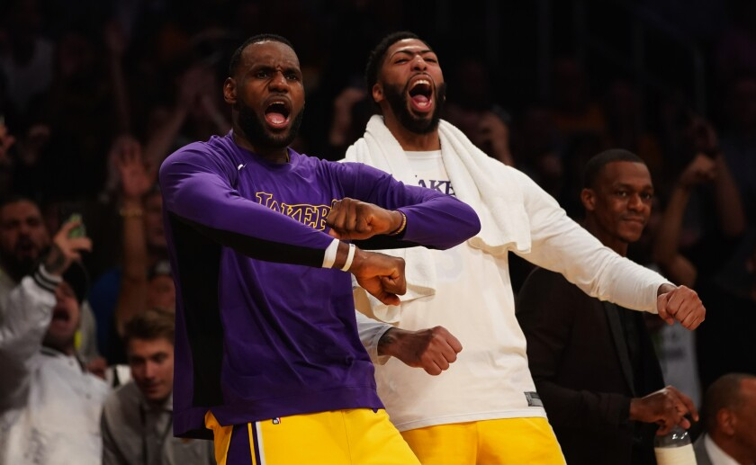 Lakers teammates LeBron James and Anthony Davis had plenty to cheer about during a rout of Memphis in October
