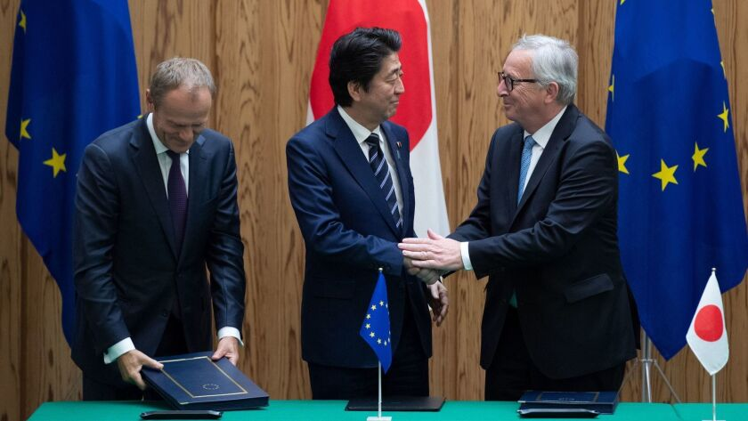 Japanese Prime Minister Shinzo Abe meets with European Union in Tokyo, Japan - 17 Jul 2018