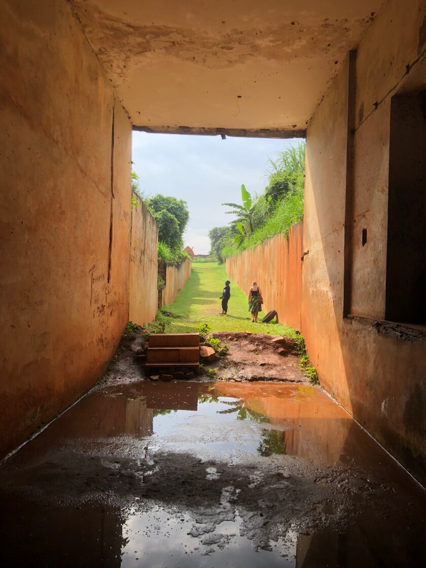 Shown is the view from inside Ugandan leader Idi Amin's bunker, a dark concrete lair used to torture political opponents, intellectuals, lawyers and religious leaders.