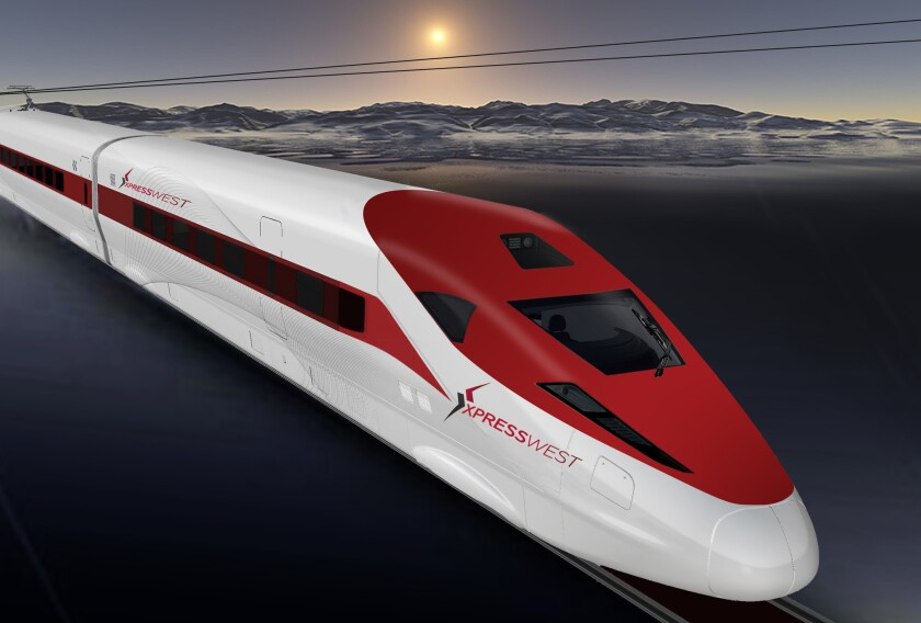 A rendering of an XpressWest train.