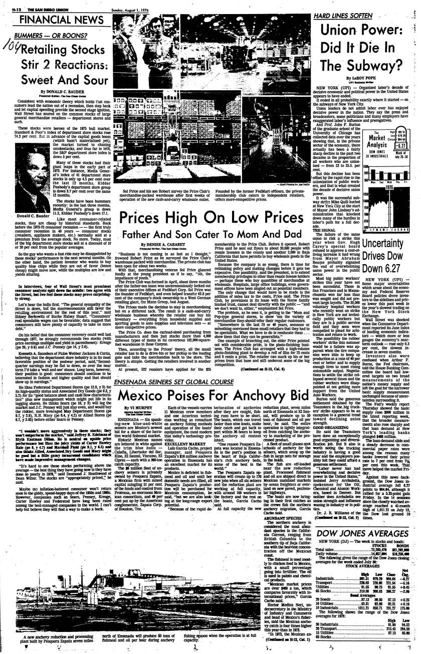 """""""Prices High On Low Prices"""" published in The San Diego Union, Aug. 1, 1976."""