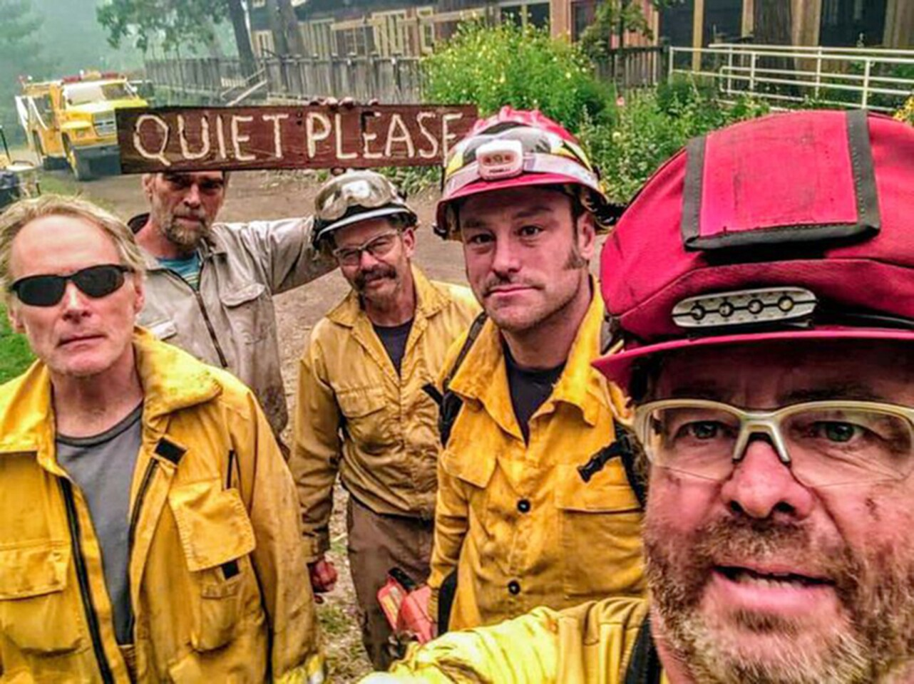 Five Firefighters work to save structures at Breitenbush Hot Springs.