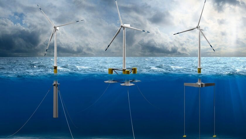 Different types of offshore wind energy floating foundations. The Bureau of Ocean Energy Management estimates six potential sites in California have a combined installed capacity potential of over 16 gigawatts.