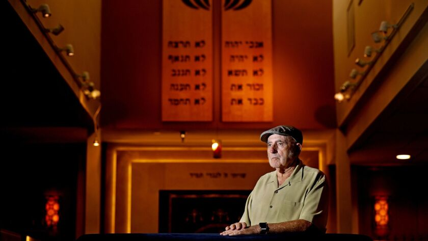 """Basil Luck, co-founder of Beth Jacob Congregation in Irvine, said the profane, anti-Semitic message spray-painted on the side of their building """"hurts me in the heart"""" but the huge outpouring of support nurtures hope."""