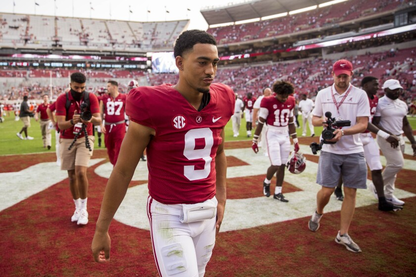 Alabama quarterback Bryce Young (9) walks off the field victorious after an NCAA college football game against Mercer, Saturday, Sept. 11, 2021, in Tuscaloosa, Ala. (AP Photo/Vasha Hunt)