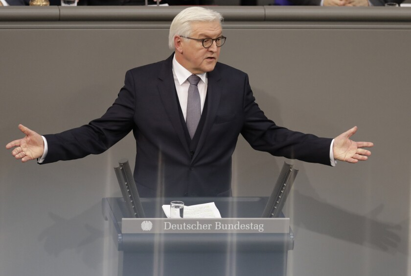 Frank-Walter Steinmeier delivers a speech in Berlin after his election as German president on Sunday.