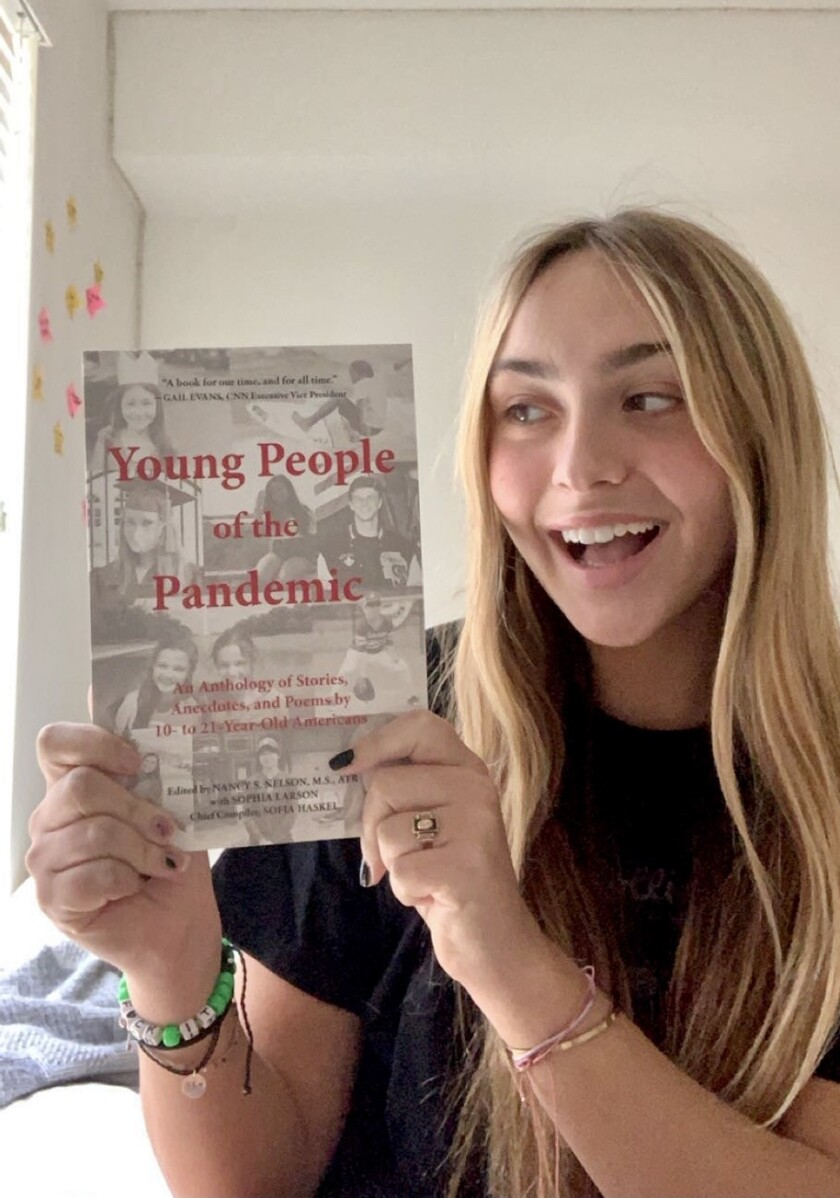 "Torrey Pines sophomore Sofie Brown is featured in the book ""Young People of the Pandemic."""