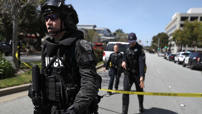 Police guard the YouTube campus after Tuesday's shooting.