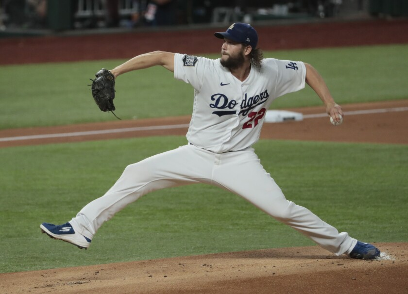 Dodgers pitcher Clayton Kershaw throws a pitch against the Tampa Bay Rays.