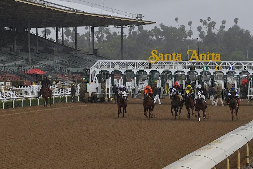 Horses run at Santa Anita Park in front of empty stands Saturday, March 14. Racing resumes Friday at the track.