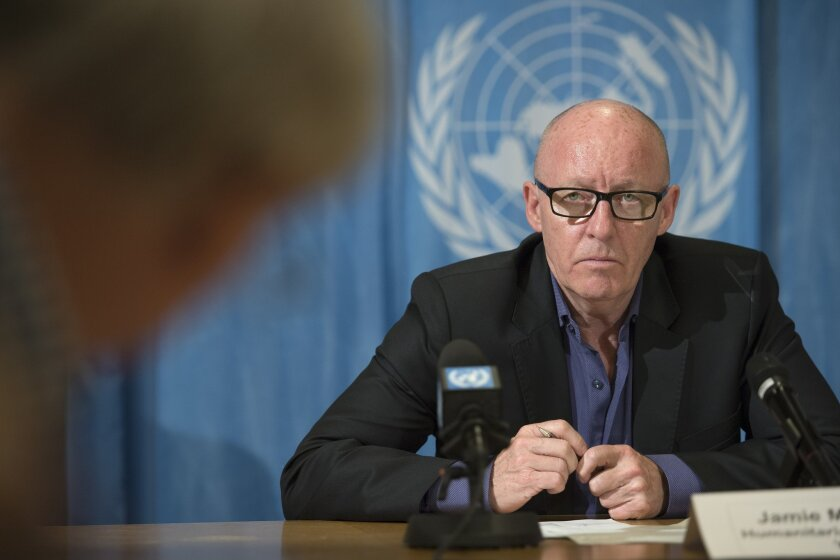 Jamie McGoldrick, Humanitarian Coordinator, Yemen, speaks during a press conference about the Humanitarian situation in Yemen, at the European headquarters of the United Nations, in Geneva, Switzerland, on Thursday, June 2, 2016. (Martial Trezzini/Keystone via AP)
