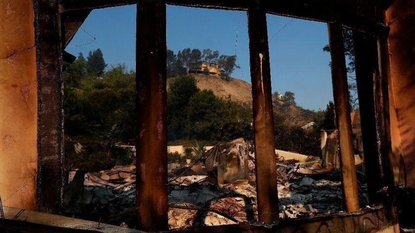 A home on Bell Canyon Boulevard was destroyed by the Woolsey fire in November.