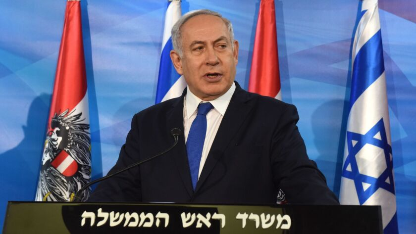 Israeli Prime Minister Benjamin Netanyahu at a press conference in his Jerusalem office Tuesday.