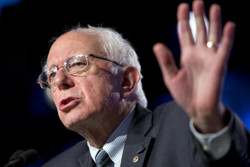 Democratic presidential candidate Sen. Bernie Sanders, I-Vt., speaks at the 2015 International Association of Sheet Metal, Air, Rail, and Transportation Workers (SMART) Conference, Tuesday, July 28, 2015, in Washington. (AP Photo/Jacquelyn Martin)