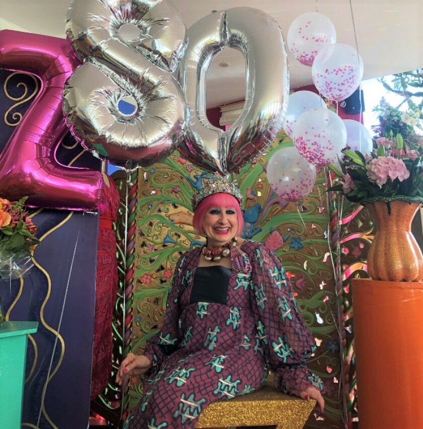 Dame Zandra Rhodes, fashion designer to royalty, turned 80 while sheltering in place in her London apartment.