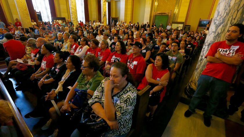 An overflow crowd fills the L.A. City Council chamber in June 2016 as the planning commission considers imposing new regulations on short-term rentals.