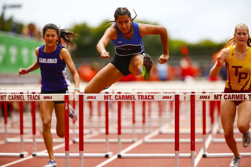 San Diego's Sonia Redon (center) leads the San Diego Section in the 100-meter hurdles.