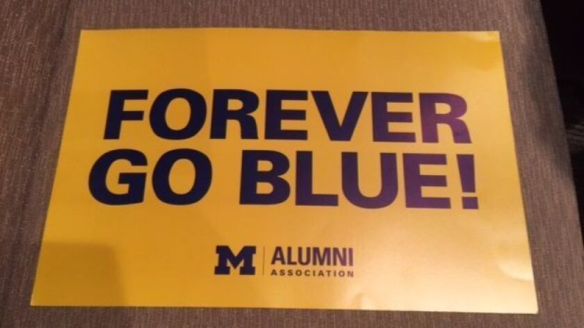 This University of Michigan alumni poster was removed by San Diego Police Chief Shelley Zimmerman before the Ohio State Buckeye would give her talk to the alumni chapter.
