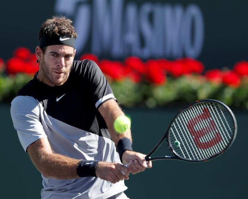 Juan Martin del Potro, of Argentina, celebrates after beating Milos Raonic, of Canada, during the semifinals at the BNP Paribas Open tennis tournament, Saturday, March 17, 2018, in Indian Wells, Calif. (AP Photo/Mark J. Terrill)
